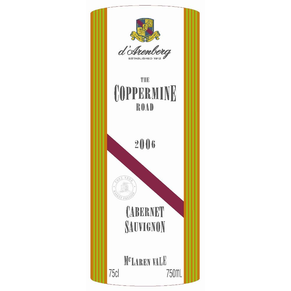 d'Arenberg The Coppermine Road Cabernet Sauvignon 2006 Front Label