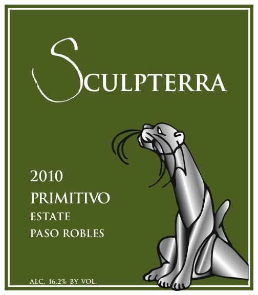 Sculpterra Winery Estate Primitivo 2010  Front Label