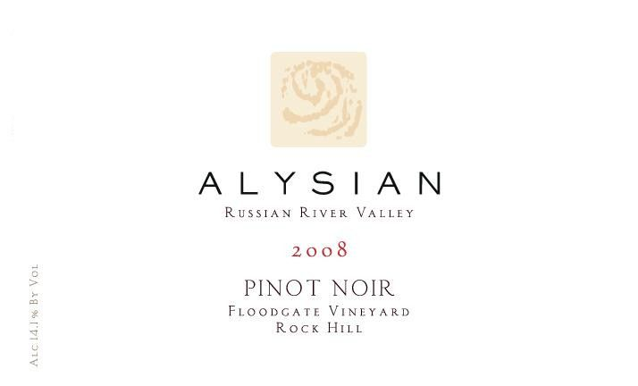 Alysian Floodgate Vineyard Rock Hill Pinot Noir 2008 Front Label