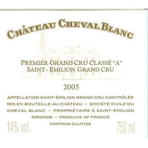 Chateau Cheval Blanc (slightly stained label) 2005 Front Label
