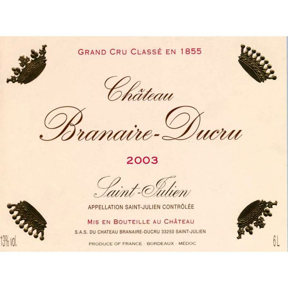 Chateau Branaire-Ducru  2003 Front Label