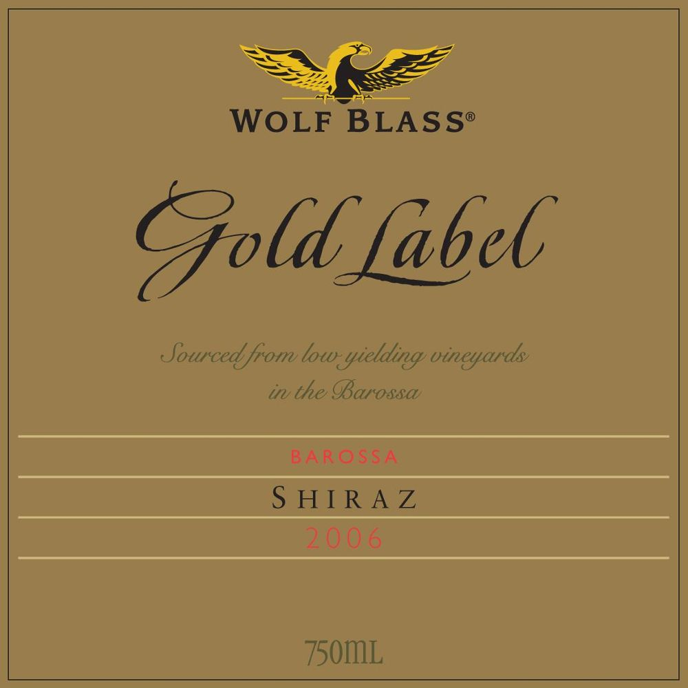 Wolf Blass Gold Label Shiraz 2006 Front Label