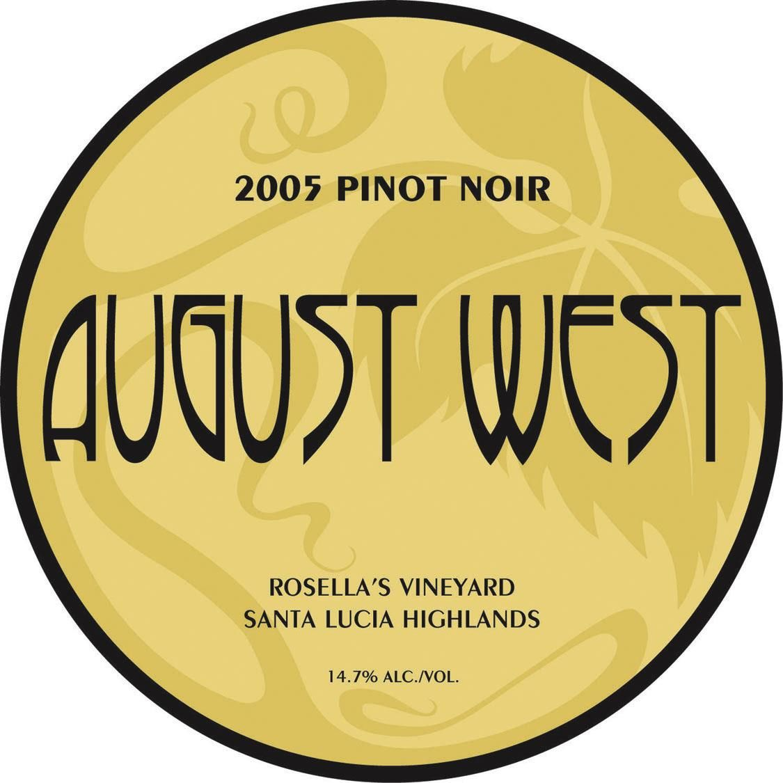 August West Rosella's Vineyard Pinot Noir 2005 Front Label