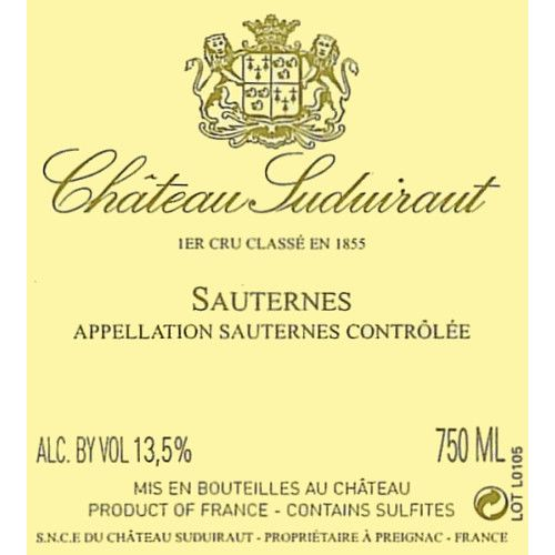 Chateau Suduiraut Sauternes (375ML half-bottle) 2005 Front Label