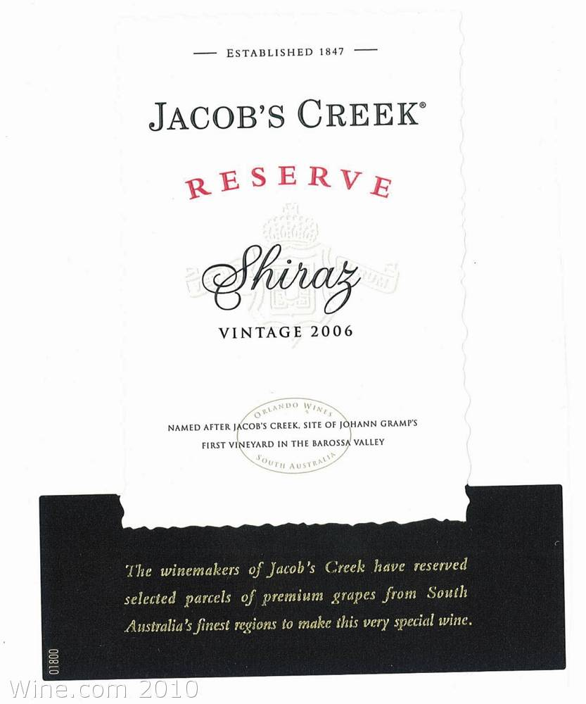 Jacob's Creek Reserve Shiraz 2006 Front Label