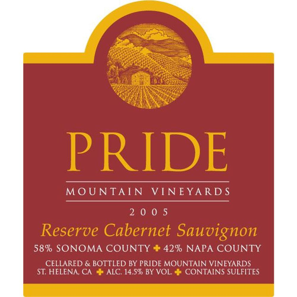 Pride Mountain Vineyards Reserve Cabernet Sauvignon 2005 Front Label