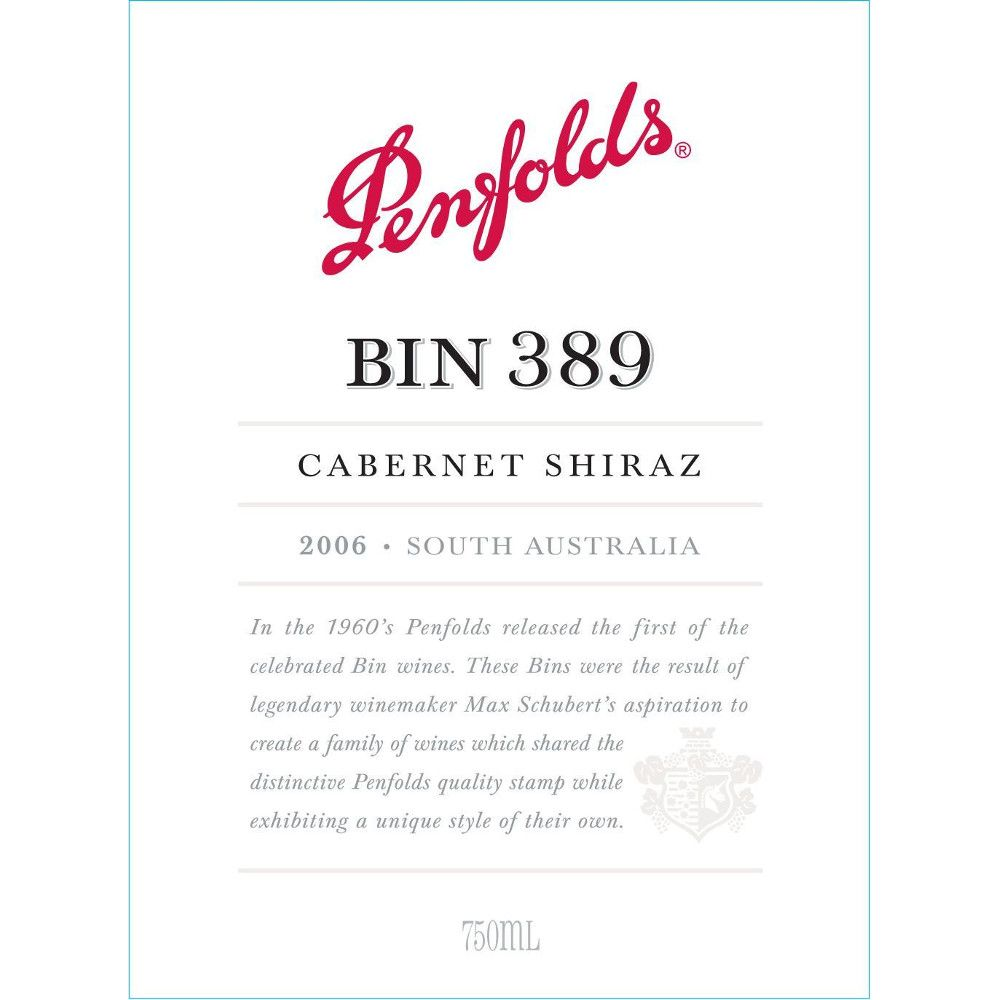 Penfolds Bin 389 Cabernet-Shiraz 2006 Front Label