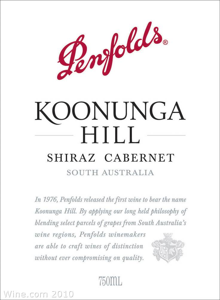 Penfolds Koonunga Hill Shiraz-Cabernet 2007 Front Label