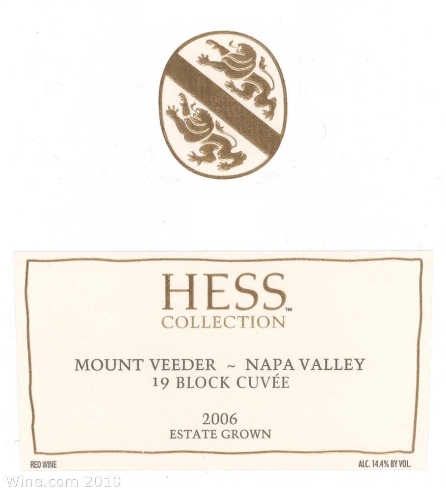 Hess Collection 19 Block Cuvee Mt Veeder 2006 Front Label