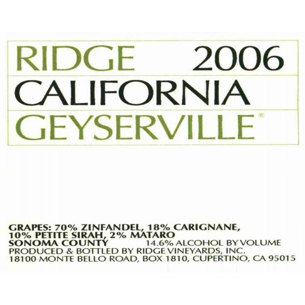 Ridge Geyserville (375ML half-bottle) 2006 Front Label