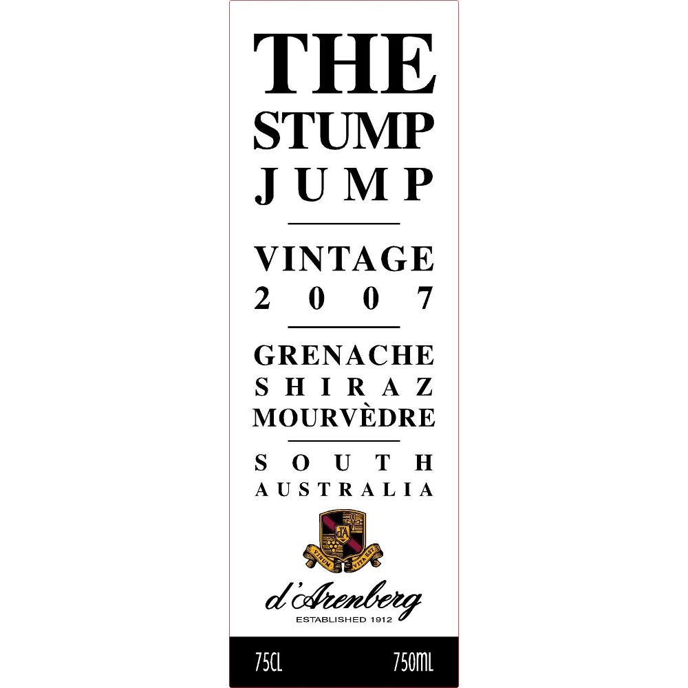 d'Arenberg The Stump Jump Red 2007 Front Label