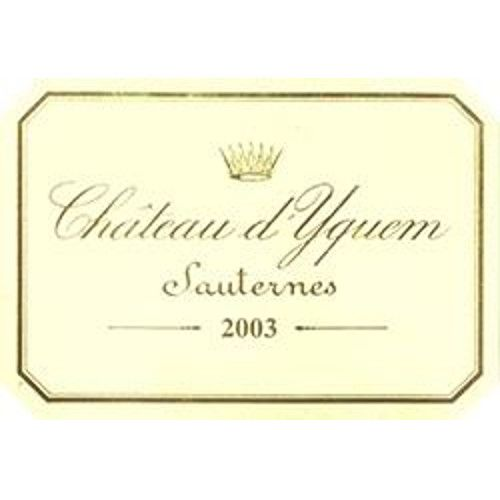Chateau d'Yquem Sauternes (375ML half-bottle) 2003 Front Label