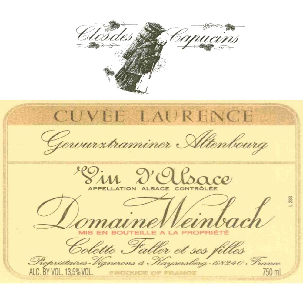 Domaine Weinbach Cuvee Laurence Gewurztraminer Altenbourg (375ML half-bottle) 2005 Front Label