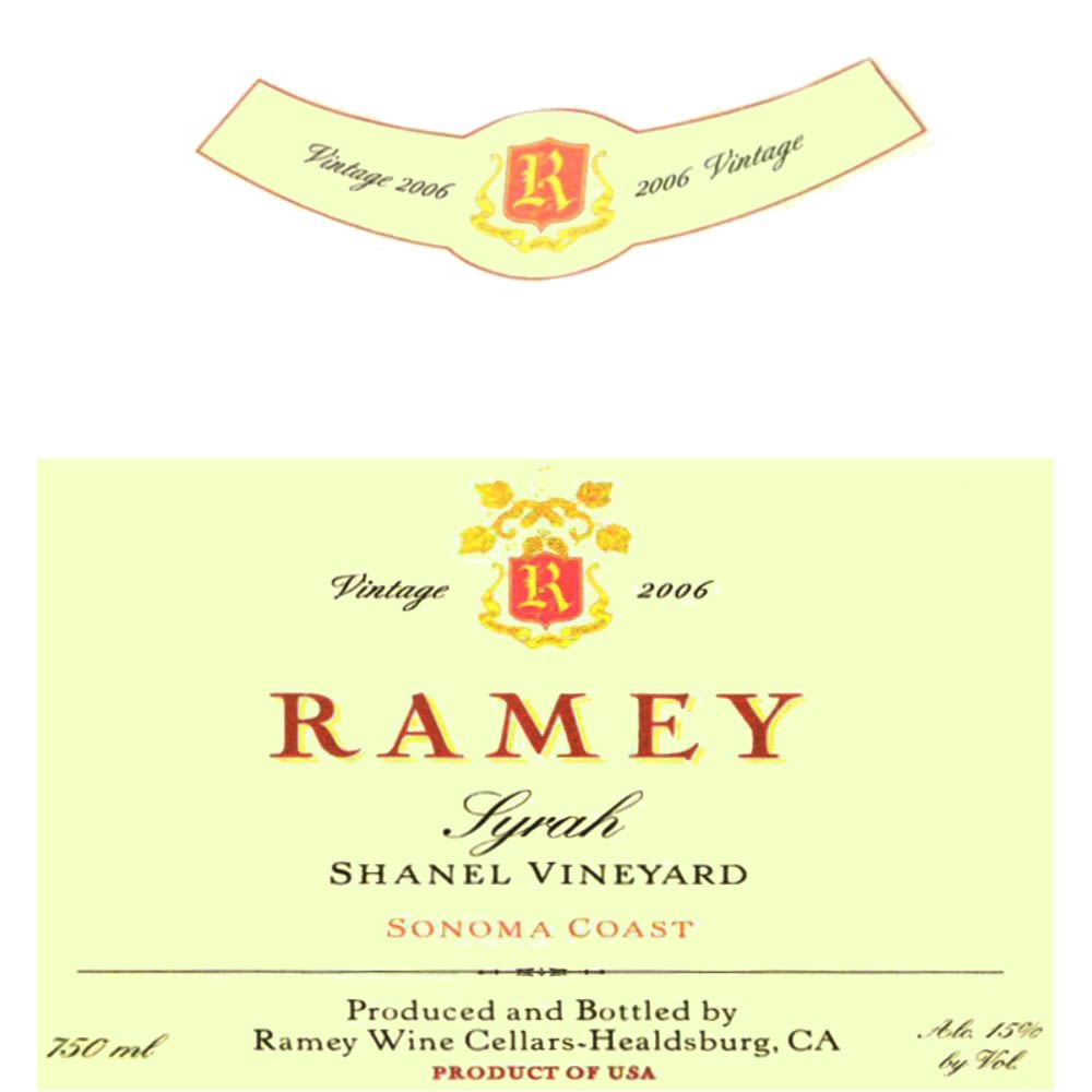 Ramey Shanel Vineyard Syrah 2006 Front Label