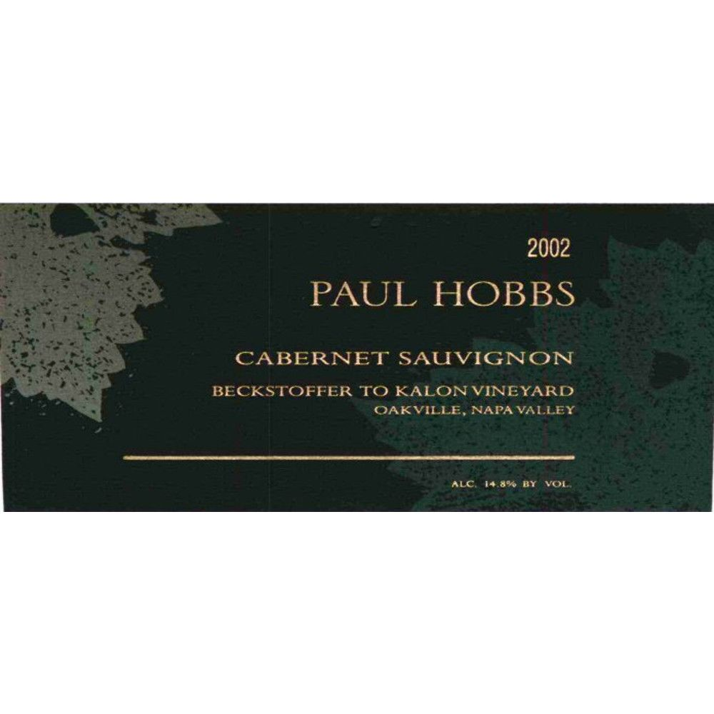 Paul Hobbs Beckstoffer To Kalon Vineyard Cabernet Sauvignon 2002 Front Label