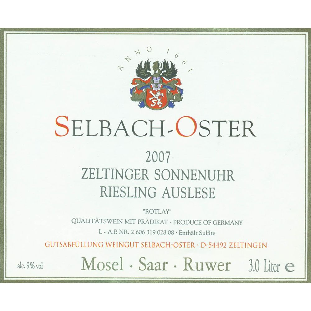 Selbach Oster Zeltinger Sonnenuhr Riesling Auslese Rotlay 2007 Front Label