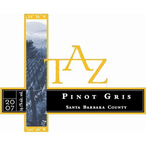 TAZ Pinot Gris 2007 Front Label