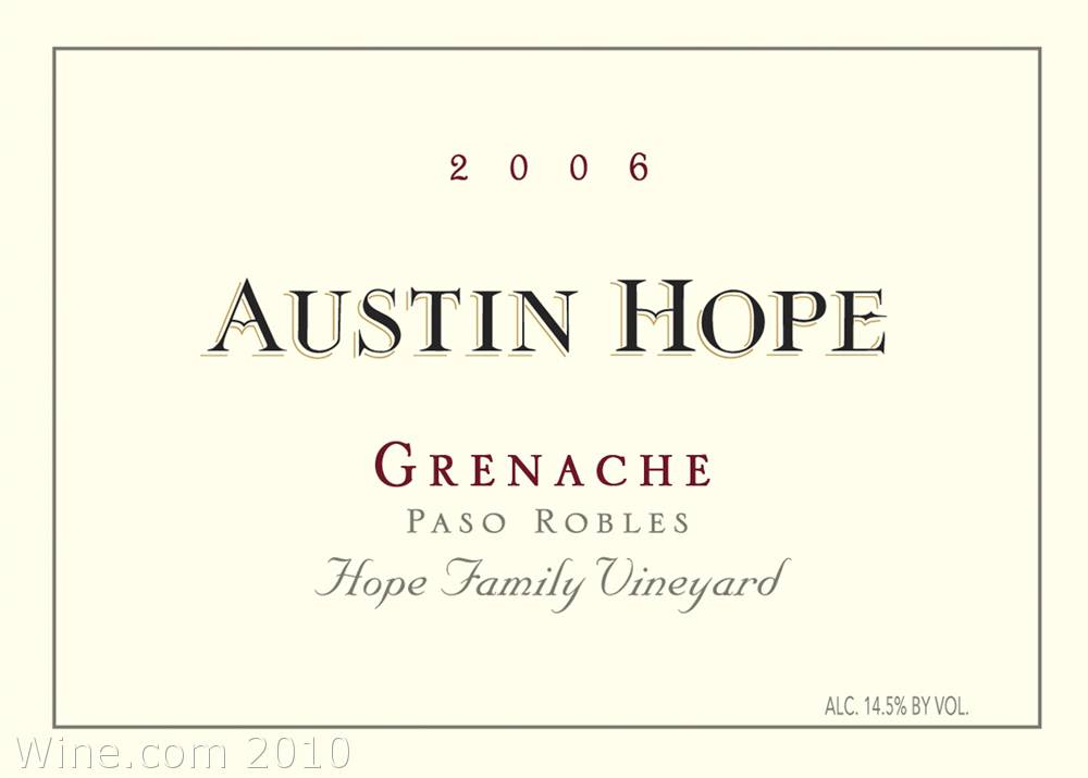 Austin Hope Grenache 2006 Front Label