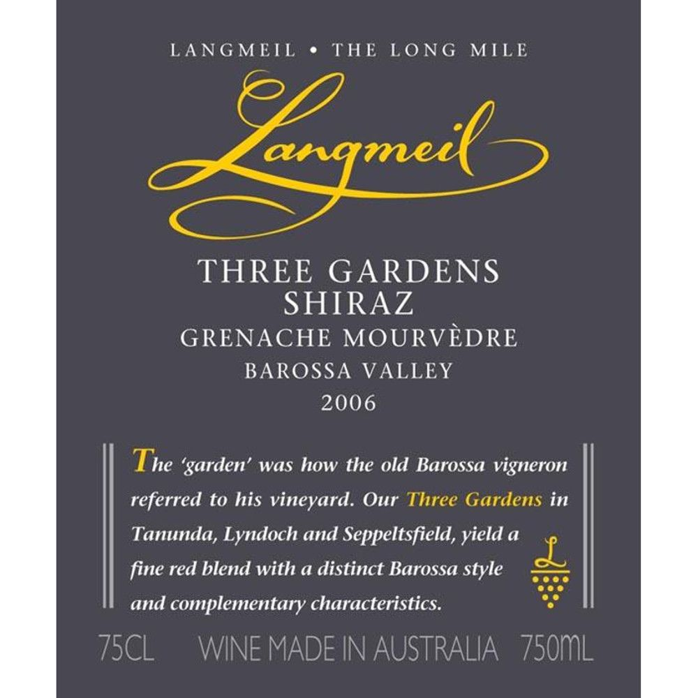 Langmeil Three Gardens SMG 2006 Front Label