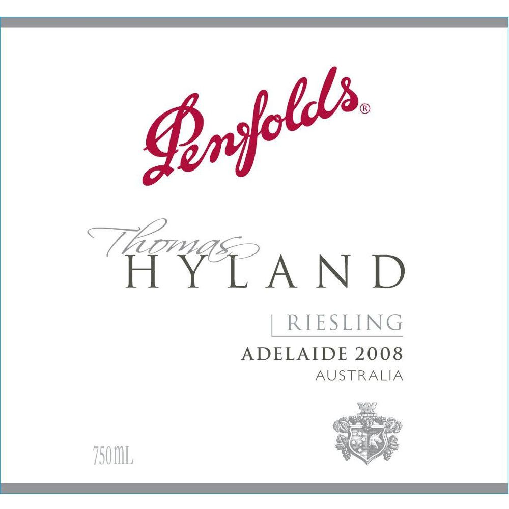 Penfolds Thomas Hyland Riesling 2008 Front Label