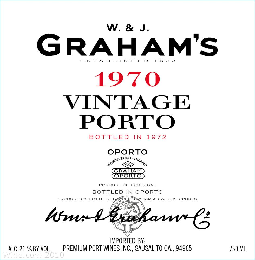 Graham's Vintage Port 1970 Front Label