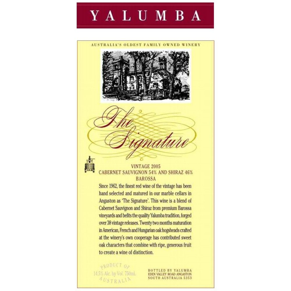 Yalumba The Signature Cabernet/Shiraz 2005 Front Label