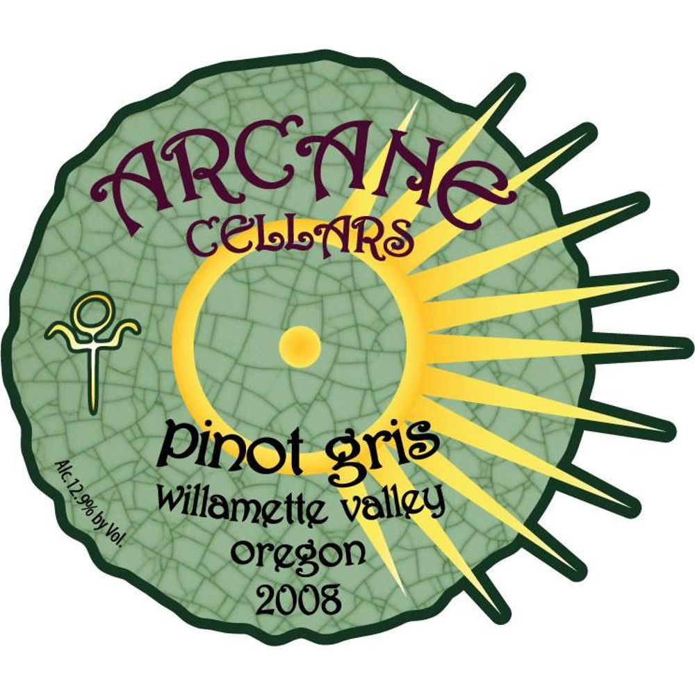 Arcane Pinot Gris 2008 Front Label