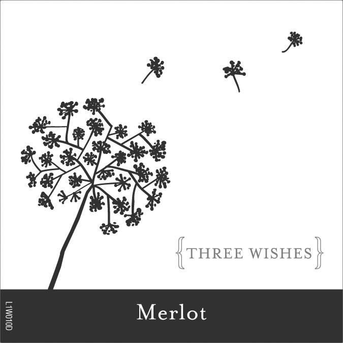 Three Wishes Merlot Front Label