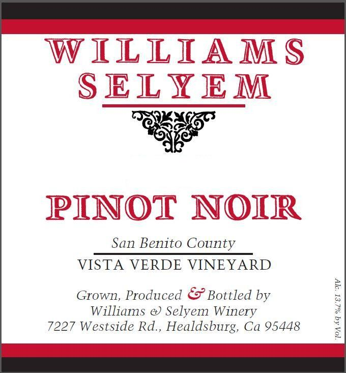 Williams Selyem Vista Verde Vineyard Pinot Noir 2017  Front Label