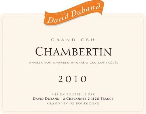 David Duband Chambertin Grand Cru (bin soiled labels) 2010  Front Label