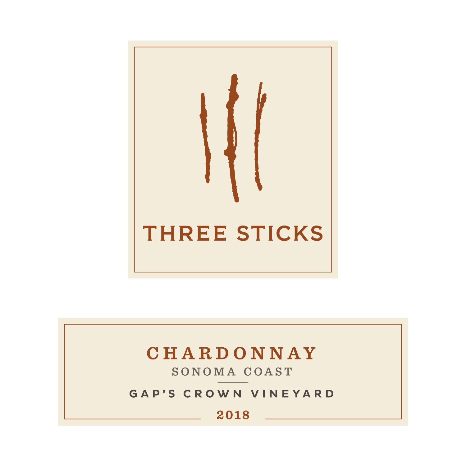 Three Sticks Gap's Crown Vineyard Chardonnay 2018  Front Label