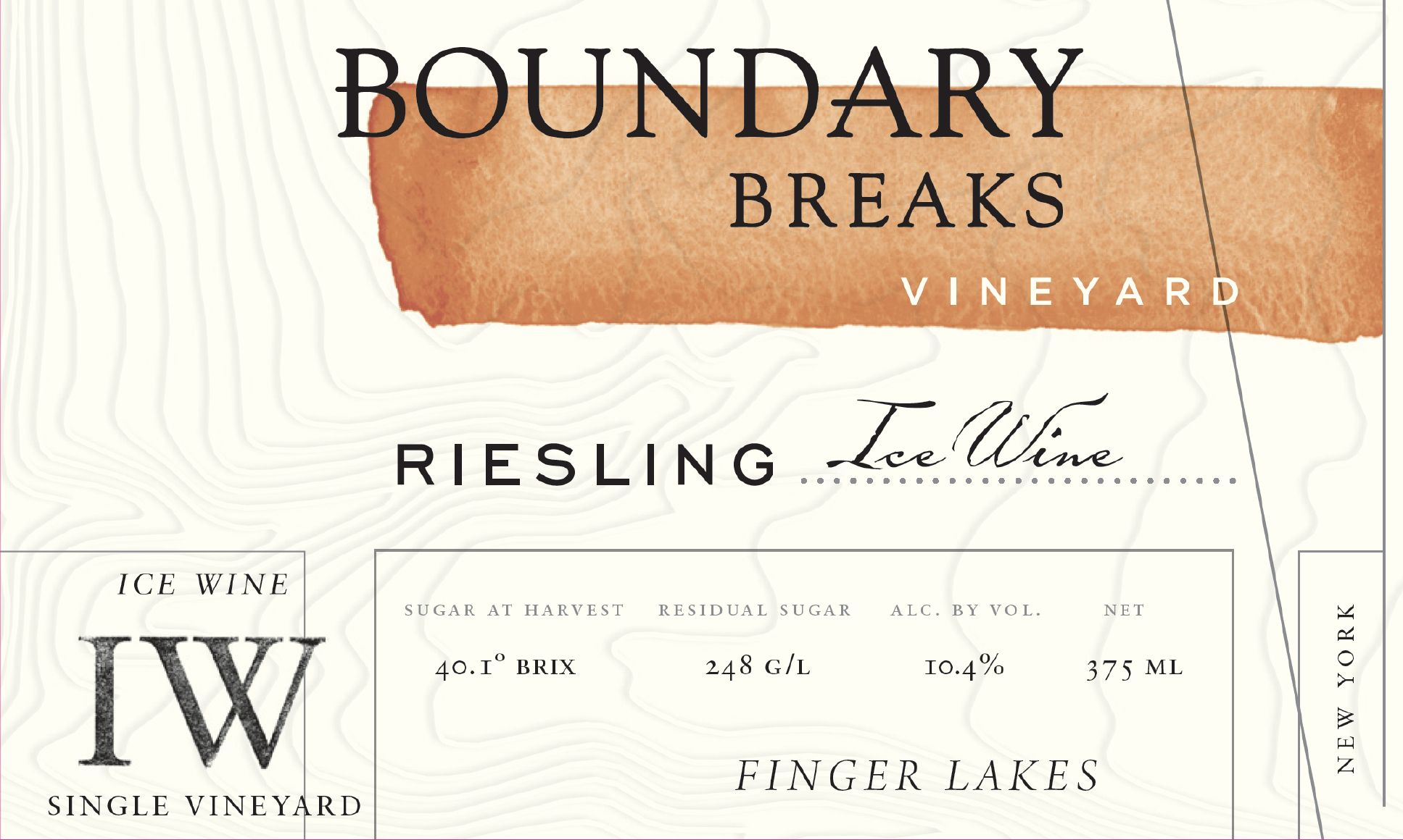 Boundary Breaks Ice Wine (375ML half-bottle) 2016  Front Label