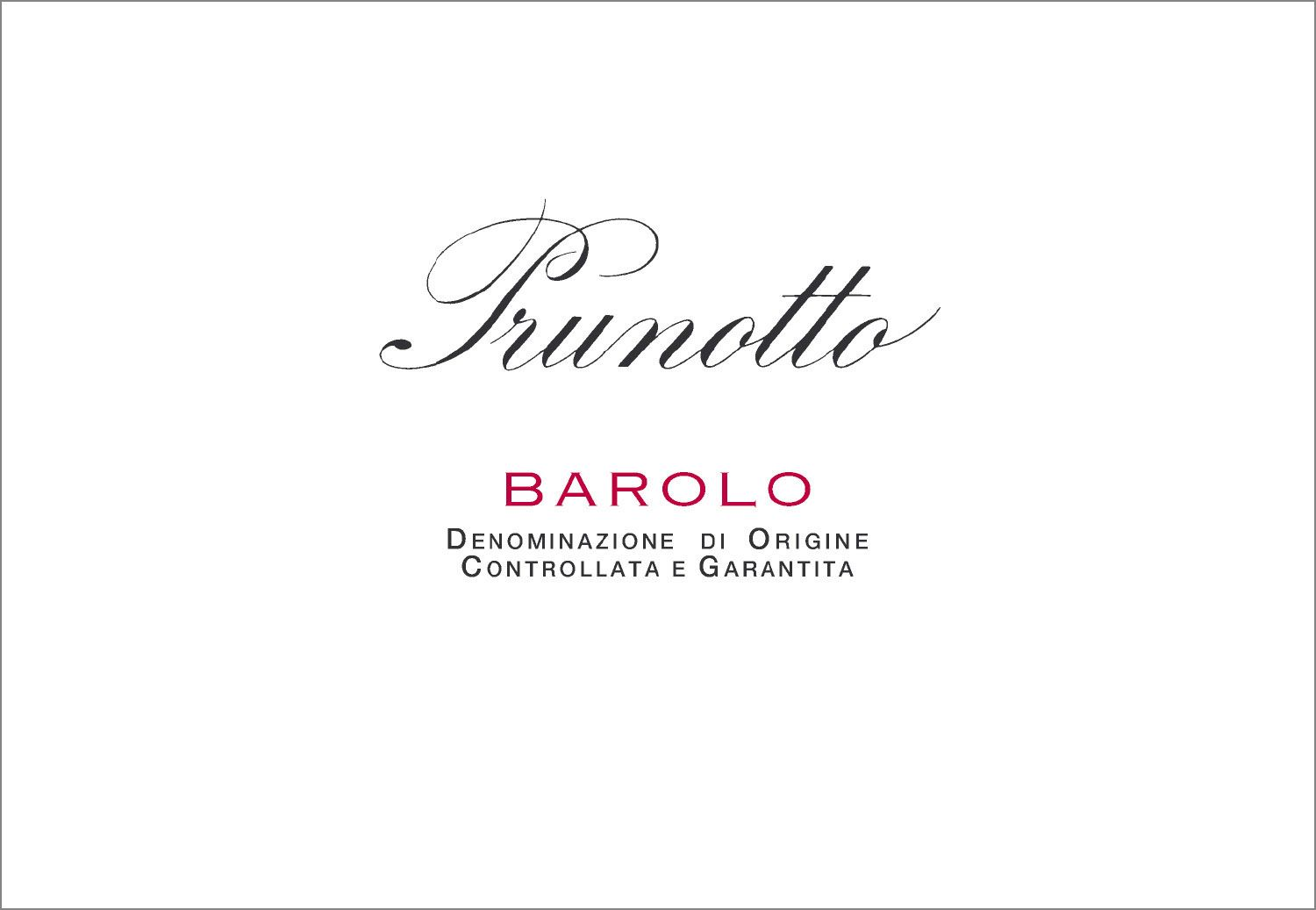 Prunotto Barolo 2016  Front Label