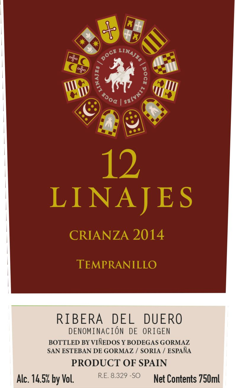 12 Linajes Crianza 2014  Front Label
