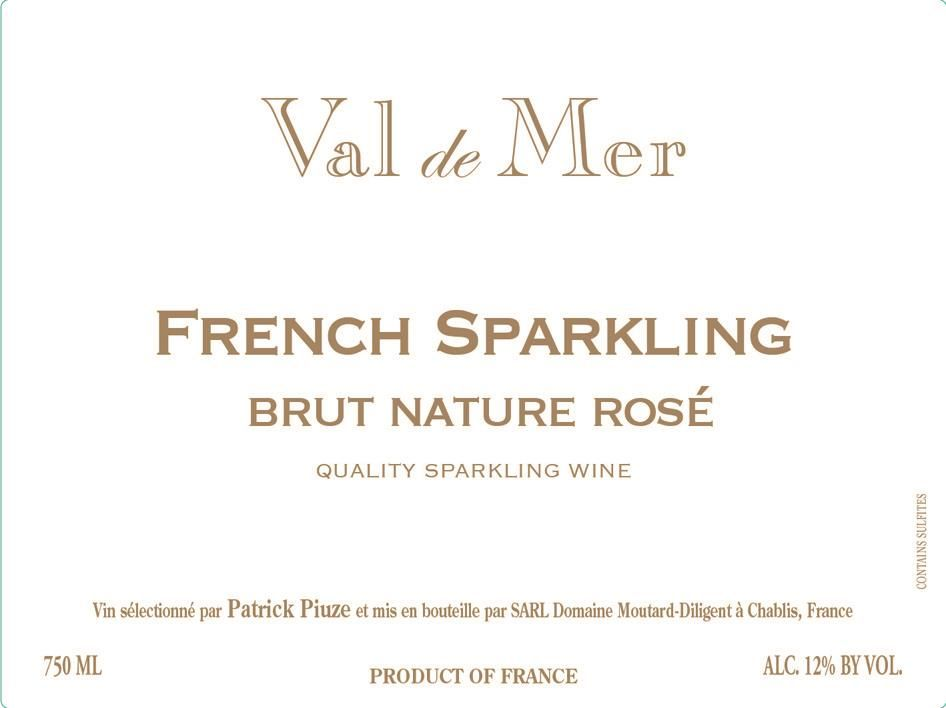 Val de Mer by Patrick Piuze Brut Nature Rose  Front Label