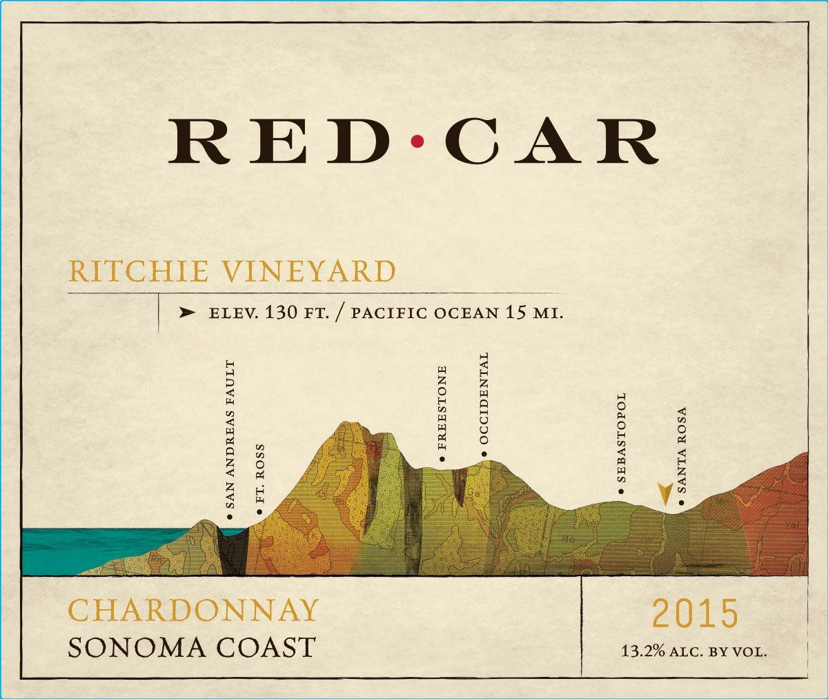 Red Car Ritchie Vineyard Chardonnay 2015  Front Label