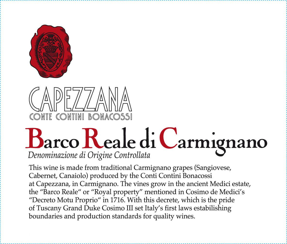 Capezzana Barco Reale 2016  Front Label