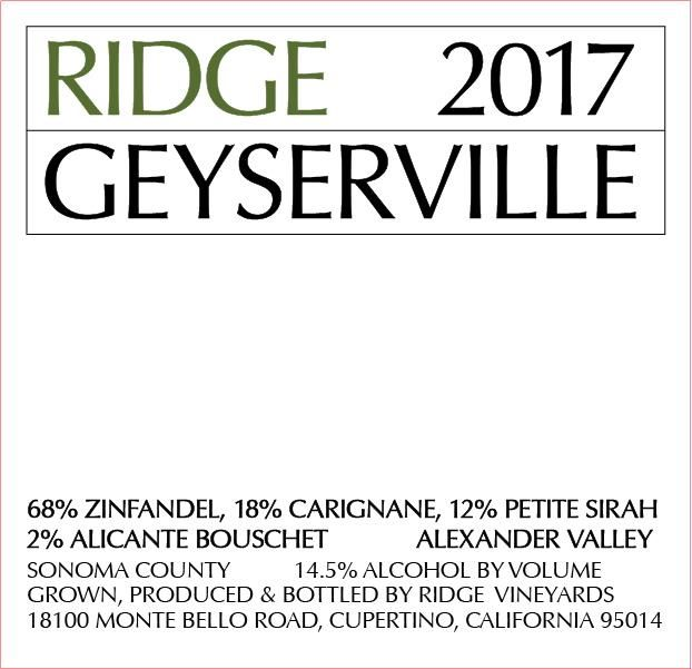 Ridge Geyserville (375ML half-bottle) 2017  Front Label