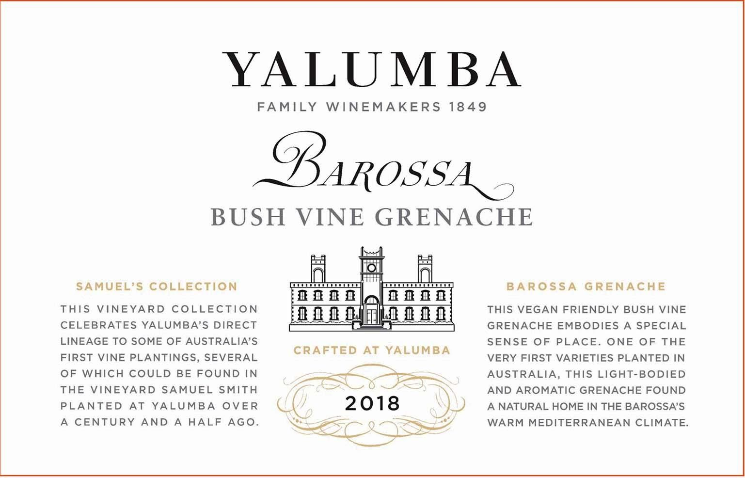 Yalumba Samuel's Collection Bush Vine Grenache 2018 Front Label