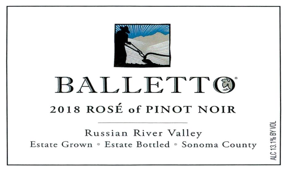 Balletto Winery Rose of Pinot Noir 2018  Front Label