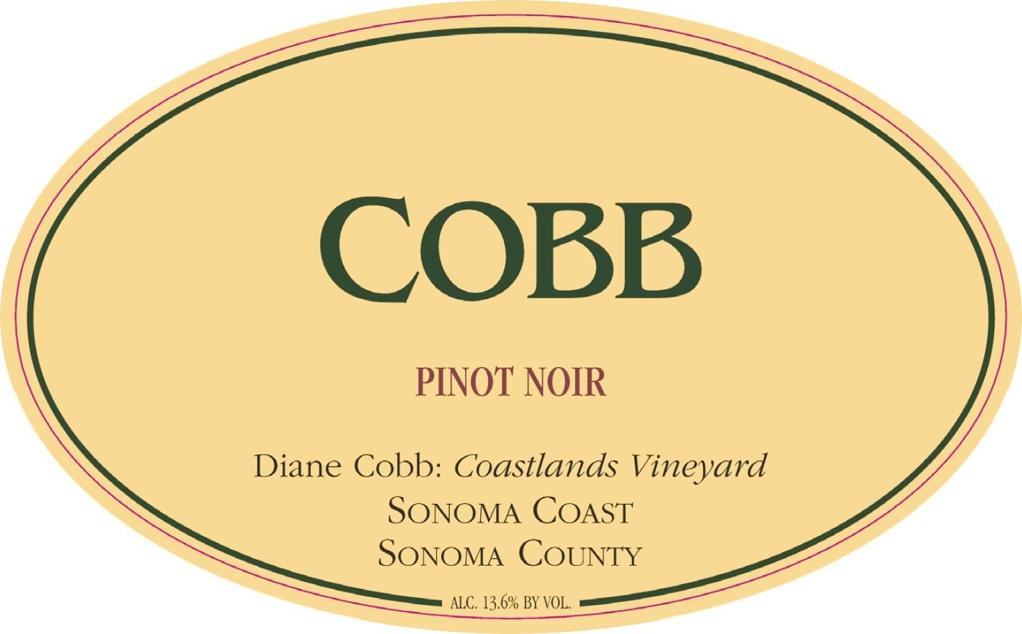 Cobb Wines Coastlands Vineyard Diane Cobb Pinot Noir 2016  Front Label