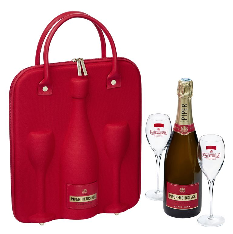 Piper-Heidsieck Cuvee Brut in Travel Case with 2 Champagne Flutes Gift Product Image