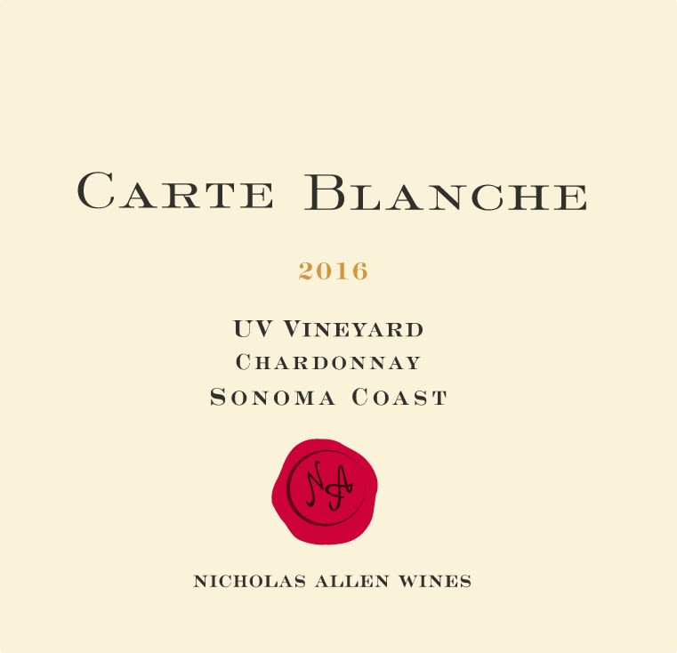 Carte Blanche UV Vineyard Chardonnay 2016  Front Label