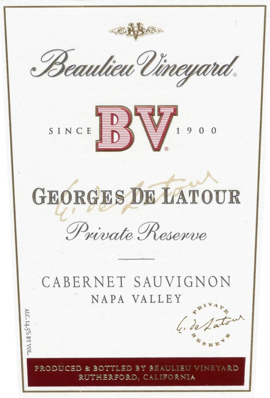 Beaulieu Vineyard Georges de Latour Private Reserve 1996  Front Label