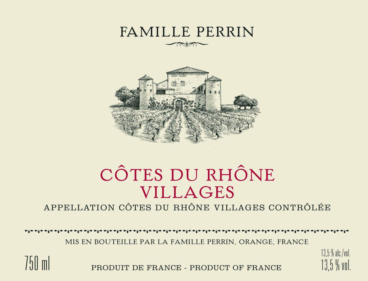 Famille Perrin Cotes du Rhone Villages Rouge 2018  Front Label