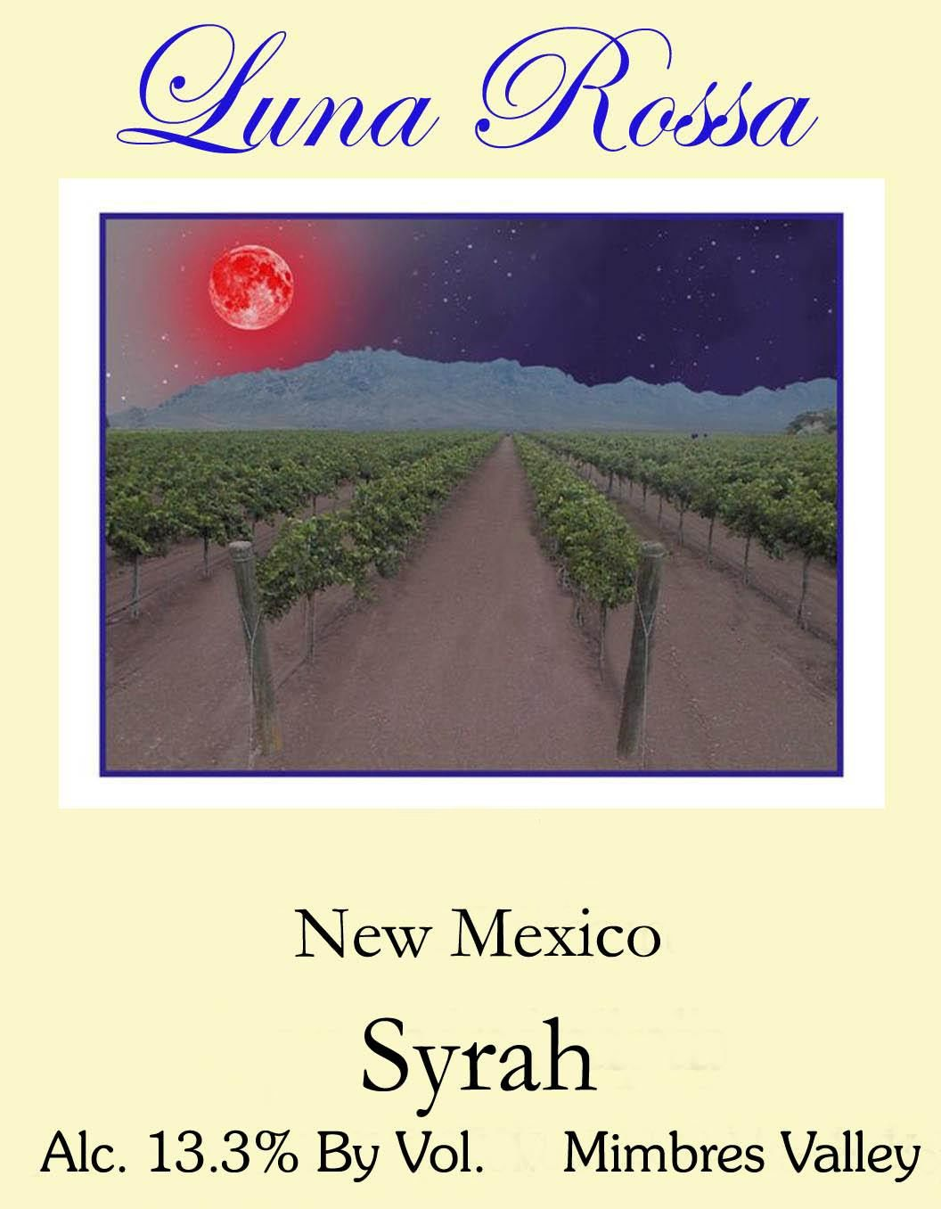 Luna Rossa Winery Syrah 2014  Front Label