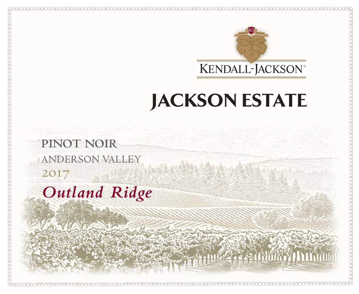 Kendall-Jackson Jackson Estate Outland Ridge Pinot Noir 2017  Front Label