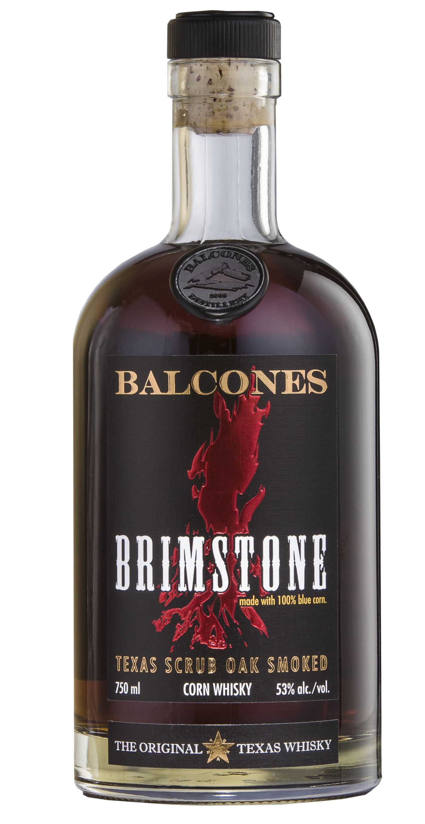 Balcones Brimstone Texas Scrub Oak Smoked Whisky Front Bottle Shot