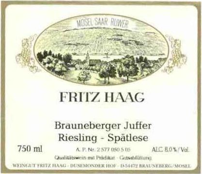 Fritz Haag Brauneberger Juffer Spatlese Riesling (scuffed labels) 2006 Front Label