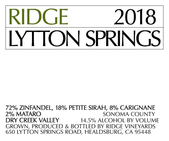 Ridge Lytton Springs (375ML half-bottle) 2018  Front Label